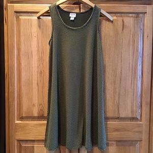 Mossimo Supply Co Striped Olive Swing Tank Dress